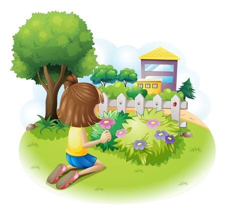 Illustratie van een meisje het plukken bloemen op een witte achtergrond