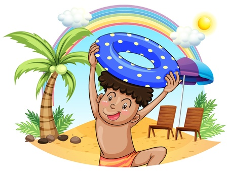 Illustration of a young boy enjoying at the beach on a white background  Vector