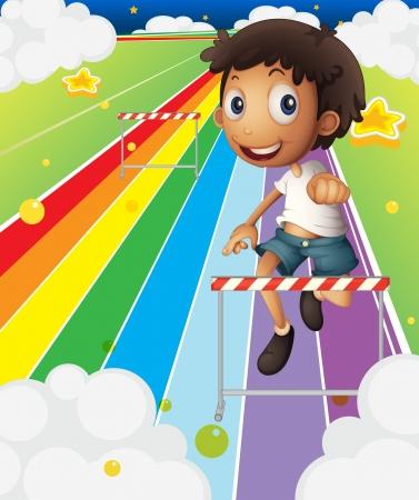 running track: Illustratie van een kleine jongen in de buurt van de streep hindernis