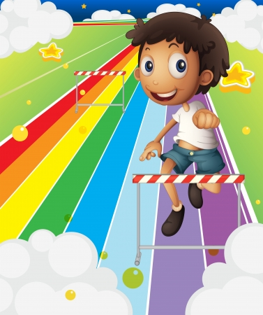 Illustration of a little boy near the stripe hurdle Vector Illustration