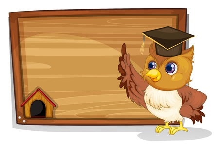 graduation cartoon: Illustration of an owl wearing a graduation cap beside a wooden board on a white background