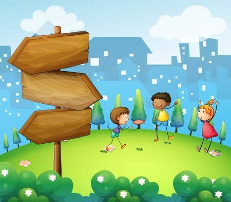 picure: Illustration of the three kids playing in the hill with wooden arrowboard Illustration