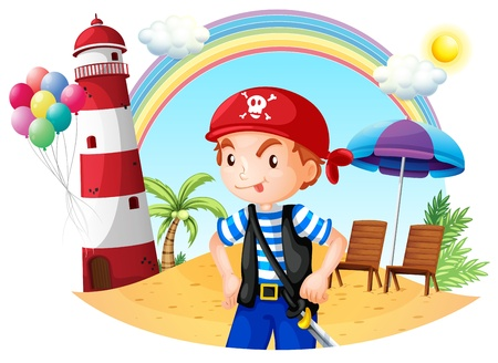 rainbow umbrella: Illustration of a pirate at the beach on a white background Illustration