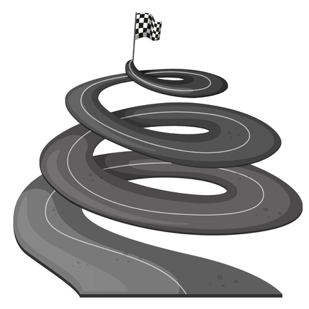 end of road: Illustration of a long road with a banner at the end on a white background