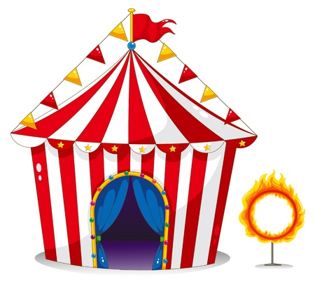 fire show: Illustration of a circus tent beside a ring of fire on a white background