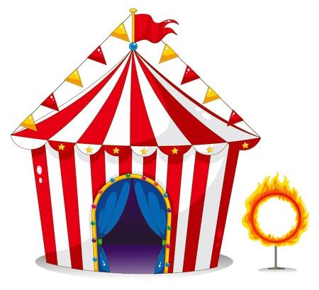 fondo de circo: Ilustración de una carpa de circo junto a un anillo de fuego sobre un fondo blanco