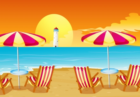 Illustration of the two umbrellas and four chairs at the beach Vector