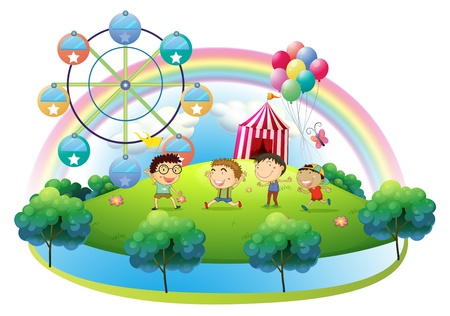 Illustration of the four boys dancing in front of the carnival on a white background  Vector