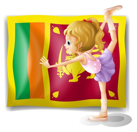 srilanka: Illustration of the flag of Sri Lanka and the gymnast on a white background