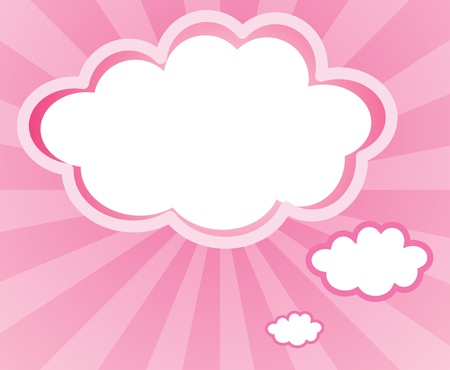 pink stripes: Illustration of a cloud with a pink background