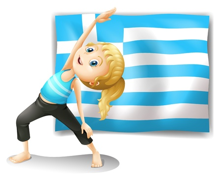 Illustration of the flag of Greece and a young girl exercising on a white background Stock Vector - 18716436
