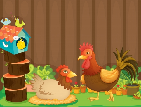 Illustration of a hen and a rooster beside the bird house Vector