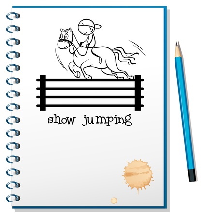 Illustration of a notebook with a sketch of a boy riding a horse on a white background Stock Vector - 18715924