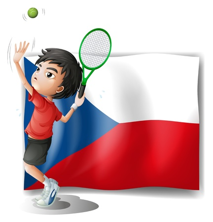picure: Illustration of the flag of Czech Republic and the tennis player on a white background