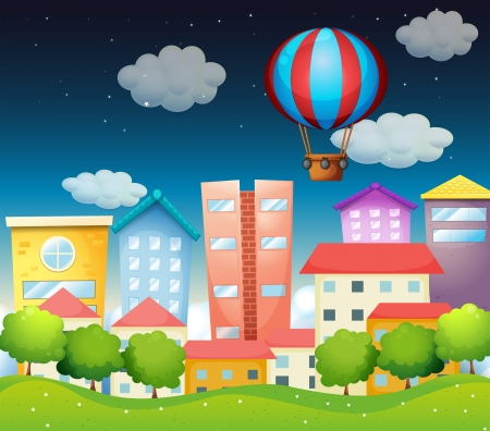 condominium: Illustration of an air balloon at the city Illustration
