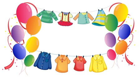 Illustration of the hanging clothes with colorful balloons on a white background Stock Vector - 18716197