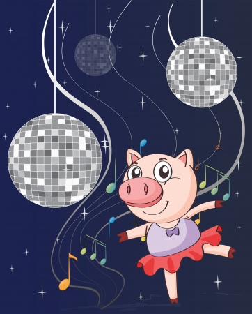 Illustration of a pig dancing with disco lights Stock Vector - 18715988