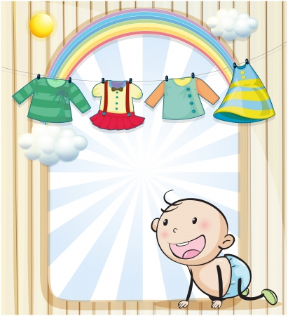 clothes hanging: Illustration of a baby girls clothes hanging