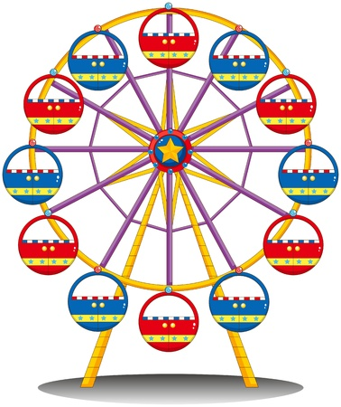 Illustration of a ferris wheel on a white background