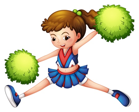 Illustration of a cheerdancer with a green ponytail and green pompoms on a white background Illustration