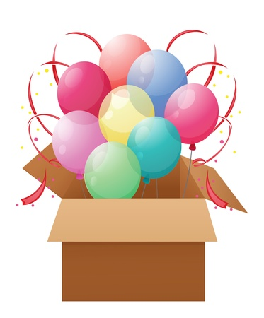 occassion: Illustration of a box with eight colorful balloons on a white background Illustration