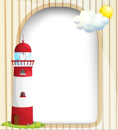 Illustration of an empty template with a sun and a lighthouse Vector