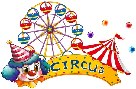 illustraiton: Illustration of a circus signboard with a clown and a tent on a white background Illustration