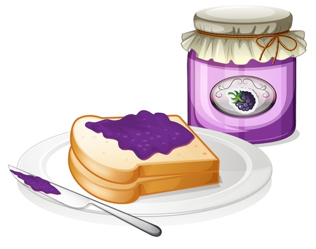melaware: Illustration of a slice bread and a bottle of grape jam on a white background