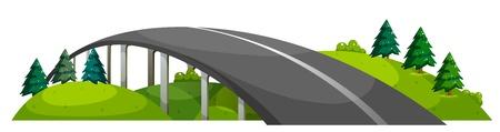 Illustration d'une route sur la colline sur un fond blanc Vecteurs