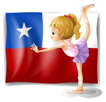 chile flag: Illustration of the flag of Chile and the young ballet dancer on a white background
