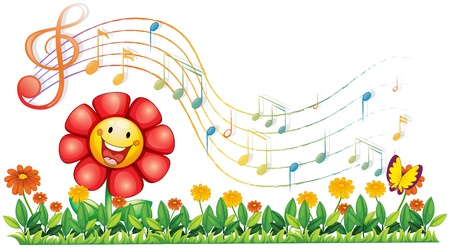 picure: Illustration of a red flower in the garden with musical notes on a white background