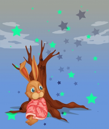 beside: Illustration of a bunny beside a big tree without leaves Illustration