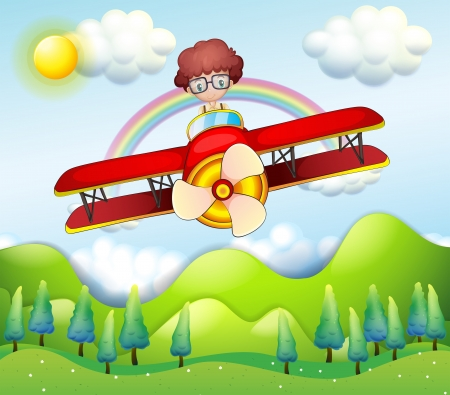 Illustration of a boy riding in a red plane