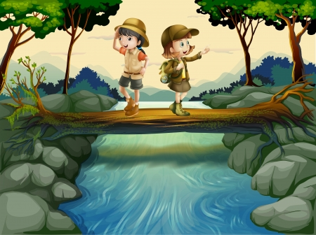 people hiking: Illustration of the two kids crossing the river Illustration