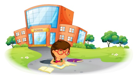 Illustration of a girl writing in the hole near the school on a white background Vector
