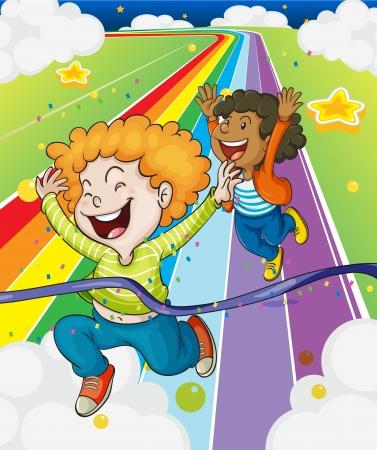 children running: Illustration of a fun run race Illustration
