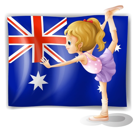 Illustration of a young girl dancing in front of the Australian flag on a white background Stock Vector - 18716312