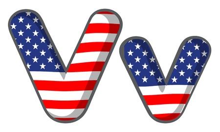 v alphabet: Illustration of United states letter of the alphabet Illustration