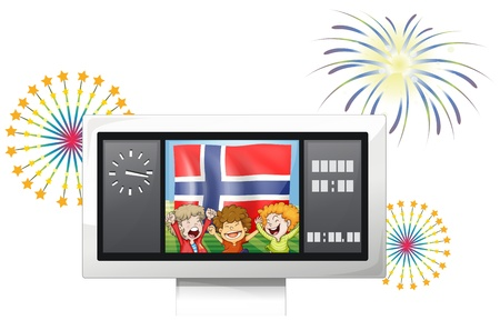 scoreboard timer: Illustration of the three kids inside the scoreboard with the flag of Norway on a white background Illustration