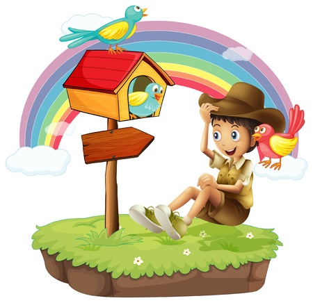 Illustration of an island with a boy near the arrow board on a white background Vector