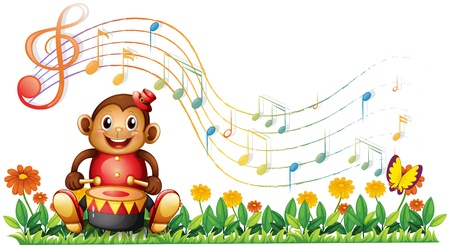 Illustration of a monkey with a drum at the garden on a white background Vector