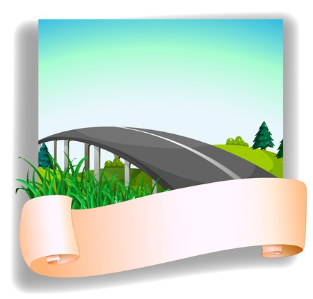 cemented: Ilustraci�n de una carretera y un papel en blanco sobre un fondo blanco Vectores