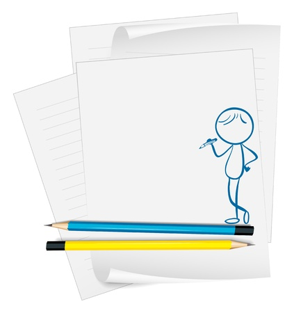 picutre: Illustration of a paper with a sketch of a boy with a pencil on a white background