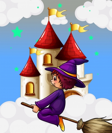 Illustration of a witch riding in a broom near the tower Stock Vector - 18716520