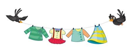 ropa colgada: Ilustraci�n de la ropa colgada con dos p�jaros negros sobre un fondo blanco Vectores