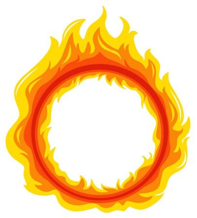 Ilustracja kuli ognia na białym tle