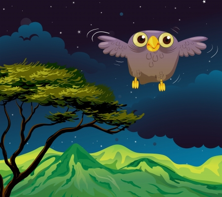 Illustration of an owl flying in the middle of the night Stock Vector - 18716000