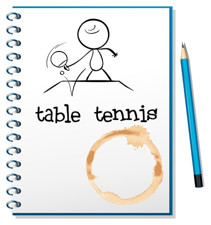 Illustrtaion of a notebook with a sketch of a person playing table tennis on a white background Vector
