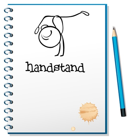 Illustration of a notebook with a sketch of a person doing a handstand on a white background Vector