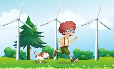 Illustration of a boy running with a dog near the three windmills Vector
